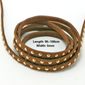 Hot Fashion Approx 95-100cm/lot Brown Korea velvet bronzing Faux Suede Cord with Gold stud  Width 5mm FXU005-27