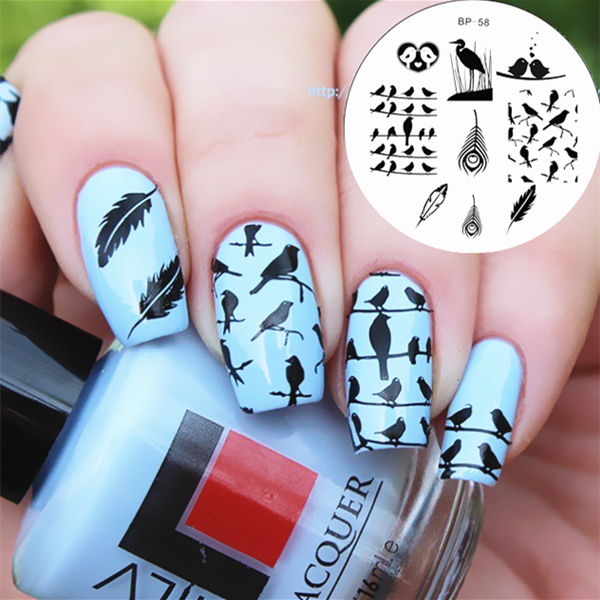 1 Pc Cute Birds Feather Design Nail Art Stamping Template Image Plate BORN  PRETTY Stamp Plate Tools BP #58-in Nail Art Templates from Beauty & Health  on ... - 1 Pc Cute Birds Feather Design Nail Art Stamping Template Image