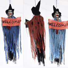 Halloween Hang Ghost Skull Welcome Ghost Voice Skeleton Decoration