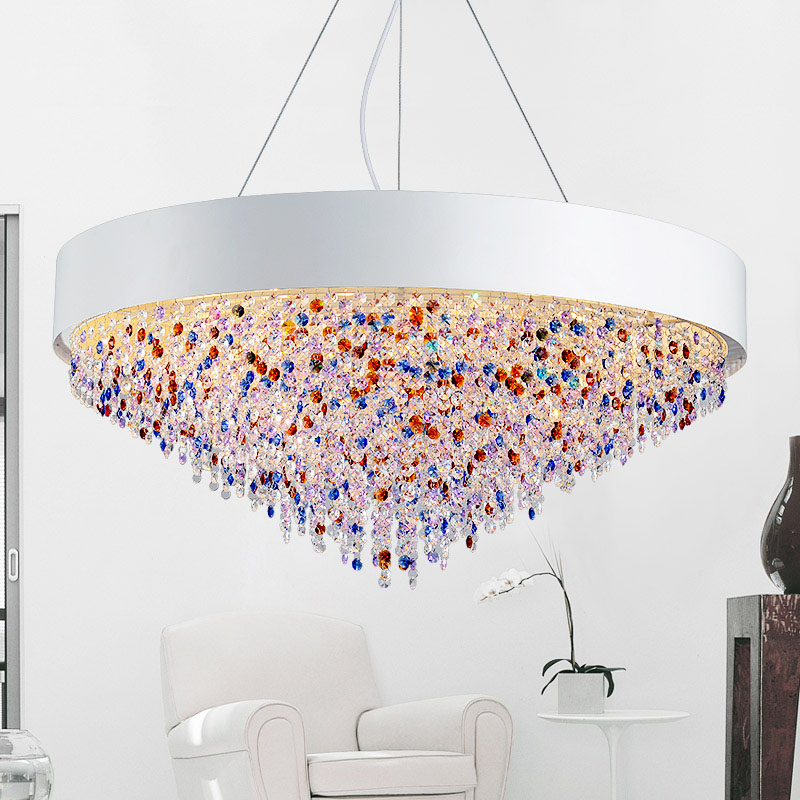 ZX Nordic Crystal Pendant Lamp Modern Large Colorful Crystal LED Lighting High-grade Living Room Restaurant Circular Oval Lamps