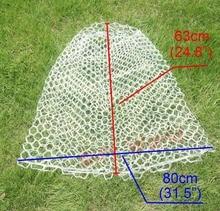 (Diameter 21.6″ / 55cm Depth 24.8″ / 63cm) Large Mesh Clear Rubber Fishing Landing Net Replacement White & Black
