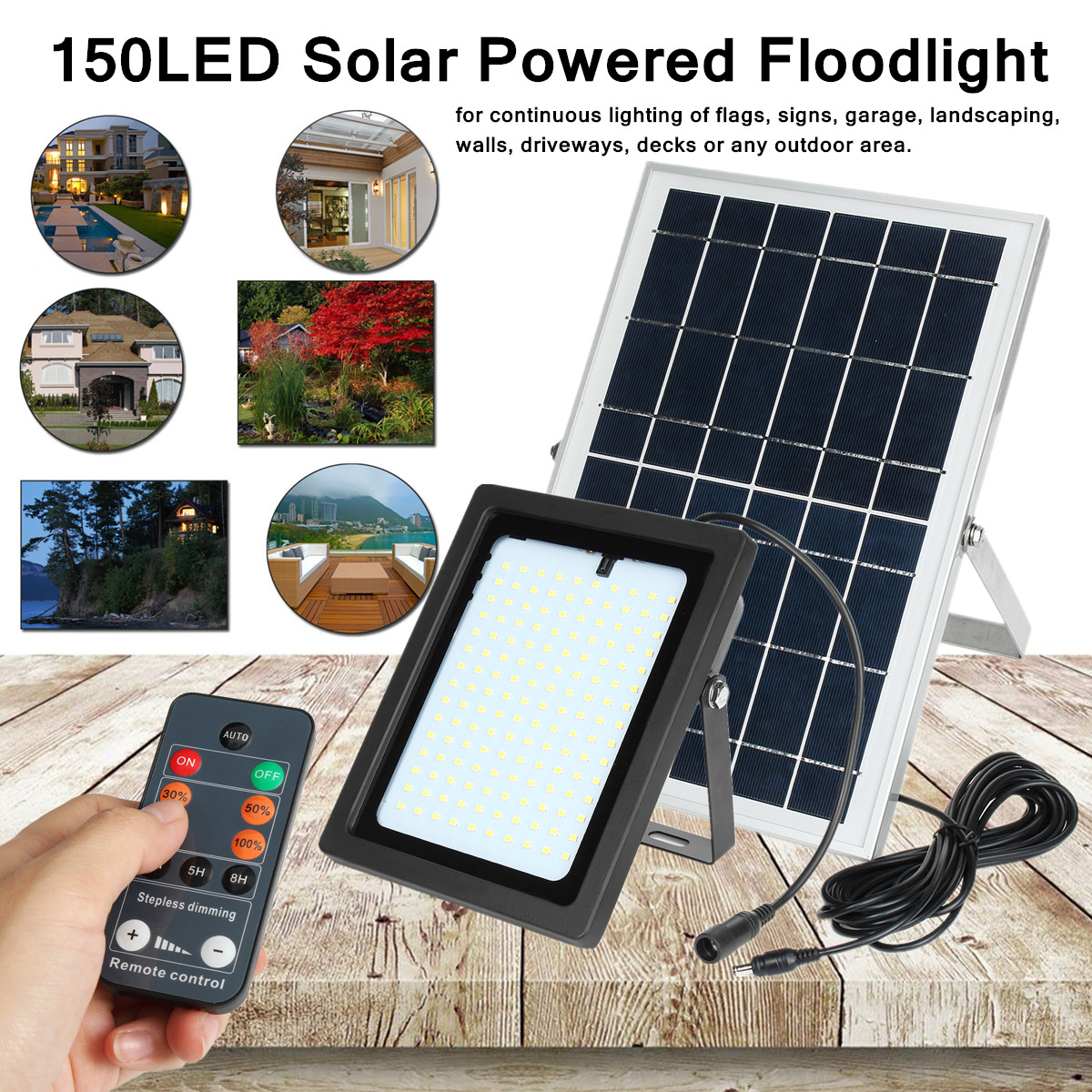 Solar Security Light Sensor Spotlight Floodlight Wall Lamp 150LED 6V 10W Outdoor Garden White Light Energy Saving Eco-friendly ...