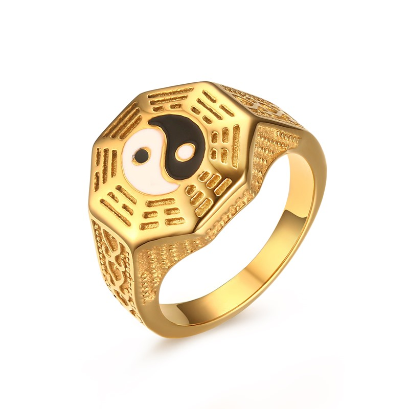 2017 Real Rushed Men's Gossip Yin Yang Symbol Gold plate Rings Stainless Steel Male Jewelrybague Anillos Gift Us Size 7-11