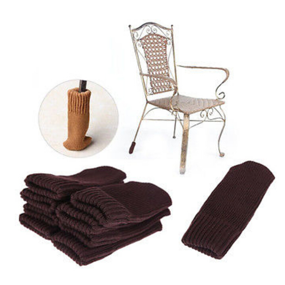Anti-Slip Sleeve Sock Chair Table Leg Knitting Wool Furniture Cover Pad Floor Protector Foot Sleeve Home Decoration Supply 4PCS