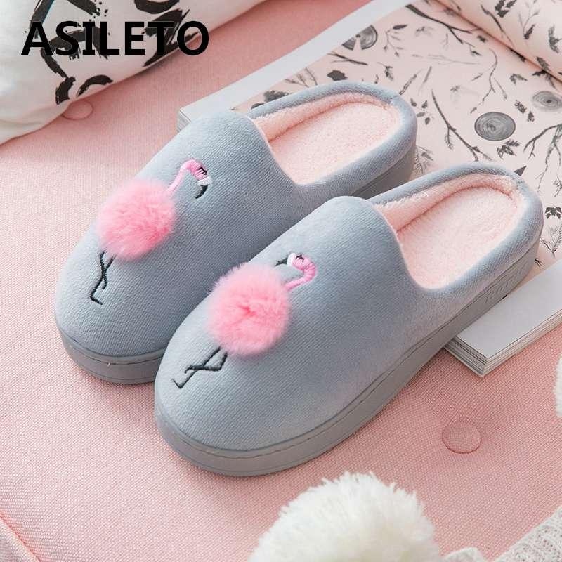 ASILETO Flamingo Animais Chinelos casa de Inverno Quente Fur Chinelos home indoor Sapatos Zapatillas Andar Por Casa plana Mulheres pantoufle