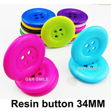 15PCS 34MM 4-Holes colors Dyed RESIN buttons coat boots sewing clothes accessory sweater button custom R-038