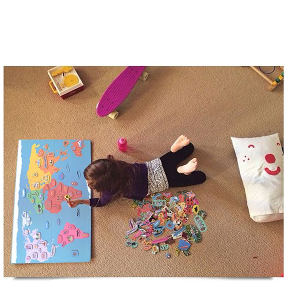 131 pcs Magnetic Fun Hello World Map Puzzle Educational Toy For Children 3d Puzzles Montessori Material Wooden Toy for child coeus 3d wooden puzzle the beautiful world the wedding chapel educational games for kids 3d puzzles for adults