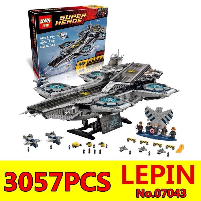 Super Heroes LEPIN 07043 3057 Unids El ESCUDO Helicarrier Kits de Edificio Model