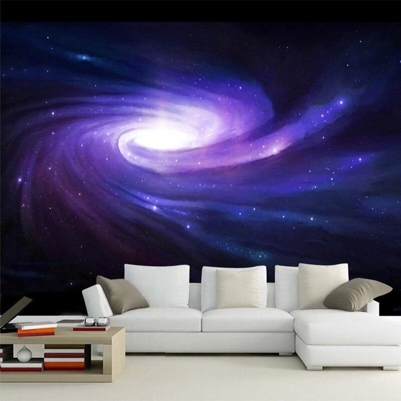 3D Wallpaper Modern Creative Space Galaxy Star Purple Swirl Wall Mural KTV Bar Living Room Non-Woven Wall Papers Papel De Parede