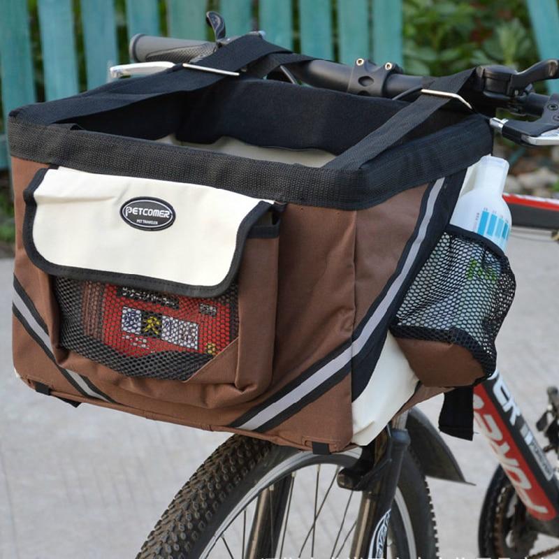 Pet Dog Bicycle Carrier Bag Basket Puppy Dog Cat Travel Bike