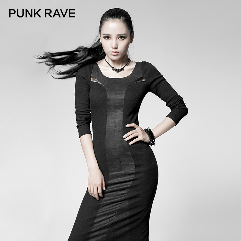 PUNK RAVE Casual Elegant Lolita Dress Gothic Black Stitching Tight And Calf Dress Behind The Mesh