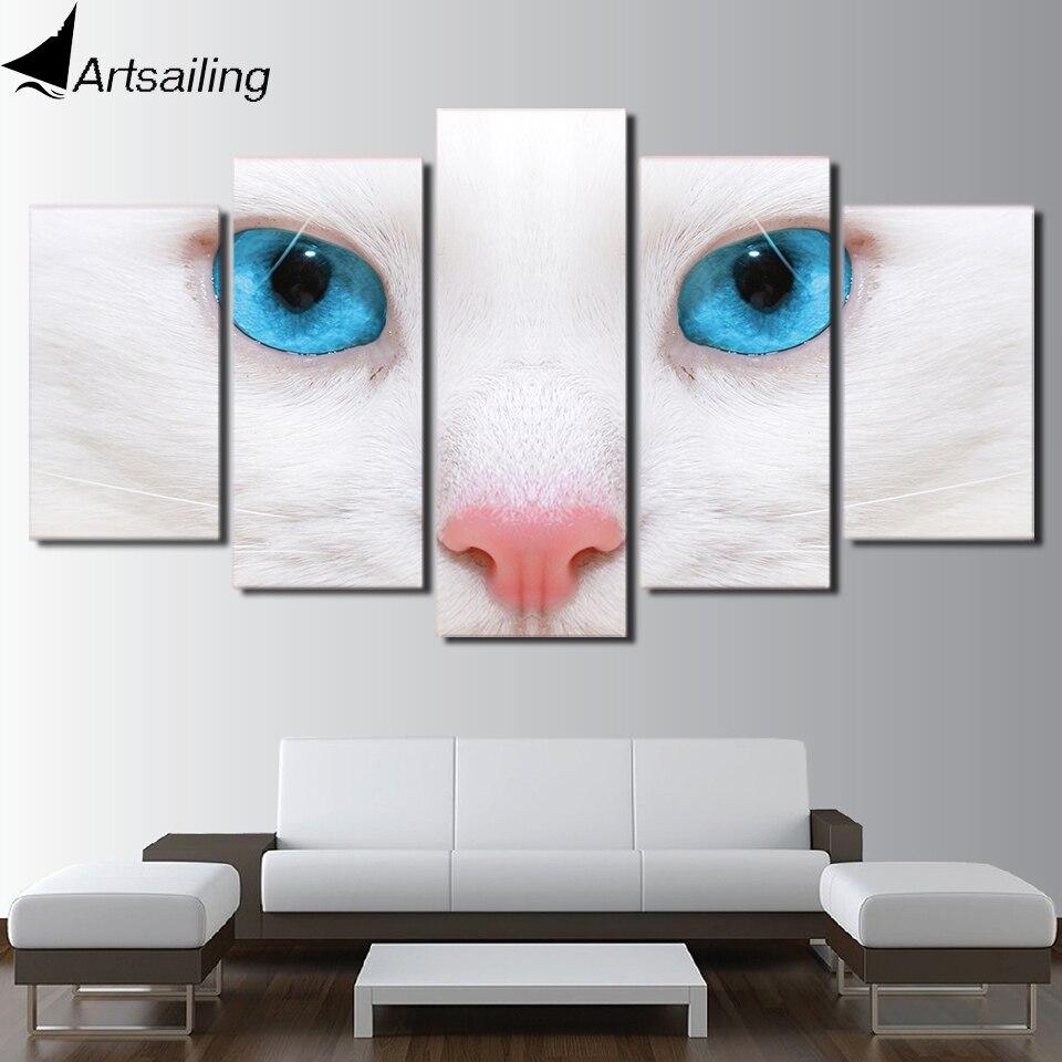 HD Gedruckt 5 Stück Leinwand Kunst Weiße Katze Blauen Augen malerei ...