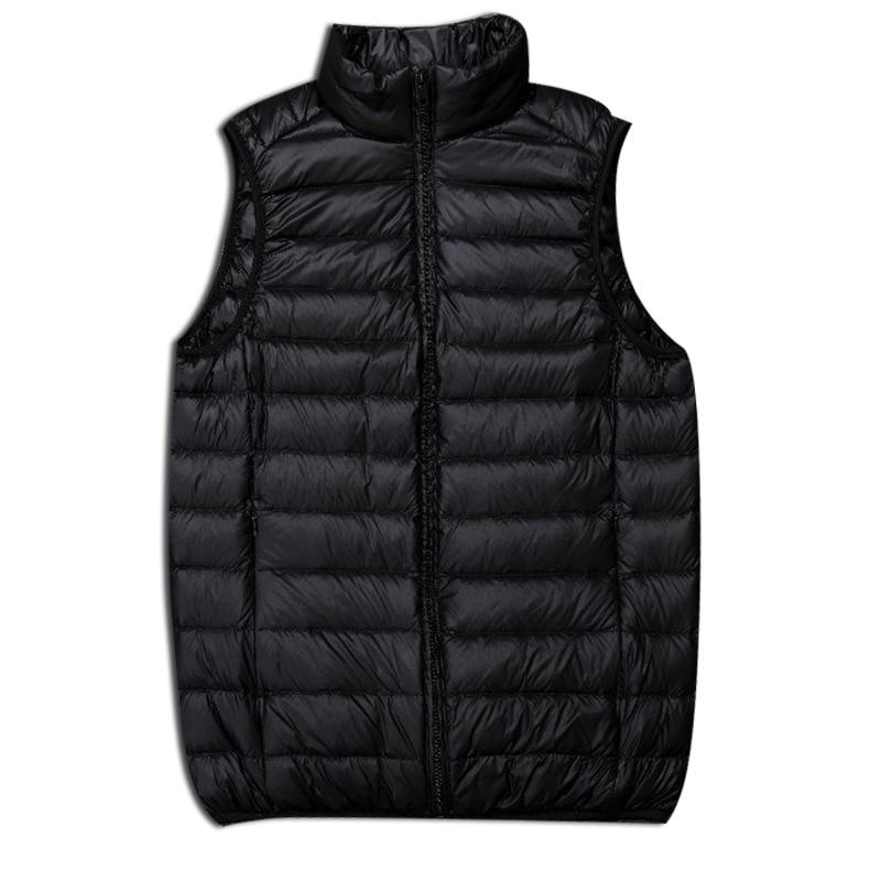 2018 Winter New Men   Down   Vest Casual Black Lightweight   Coat   Fashion Stand Collar Solid Warm Outwear Plus Size Male Vest S-3xl