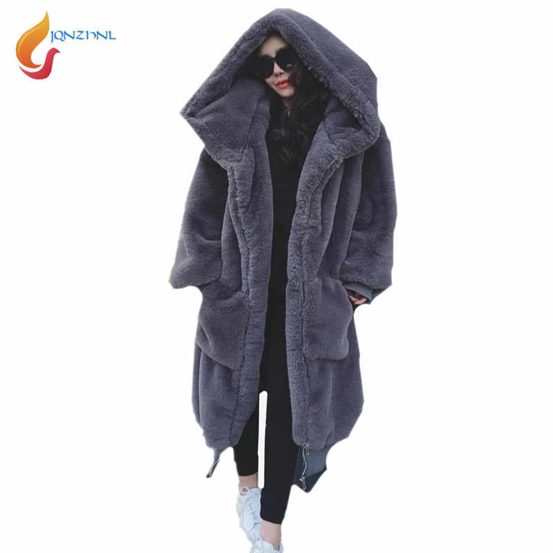 JQNZHNL 2018 Winter Coats Women Solid Color Casual Loose Fur Jacket Big Fur Hooded Overcoats Fashion Thicken Faux Fur Coats C216