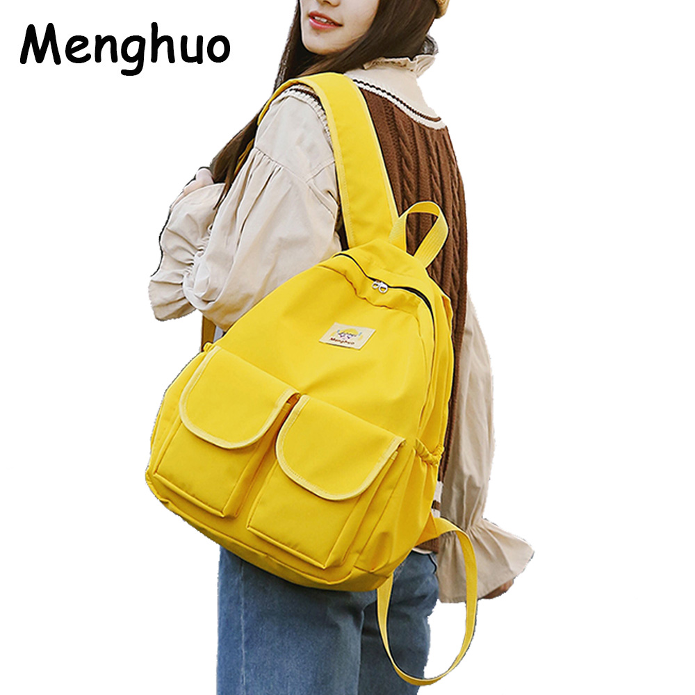 MENGHUO Women Backpacks for School Teenagers Girls Preppy Style School Bag Ladies Soft Fabric Backpack Female Book bag Mochilas 2017 women leather backpack designer preppy style school bags for teenagers girl s travel bag vintage backpacks mochilas escolar