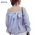 vancol 2017 casual spring nine quarter backless bow summer blouse puff sleeve slash neck off shoulder blue striped women shirts