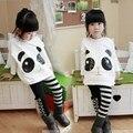 1 Pcs Padrão de Moda Panda Sets Top com Calças Leggings Listras das Crianças Outfits Branco para 5-11 Velho meninas
