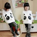 1Pcs Fashion Panda Pattern Children's Sets Top with Stripe Leggings Pants Outfits White for 5-11 Old Girls