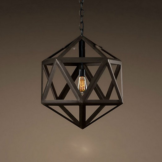 Vintage Industrial Edison Pendant Chandelier Wrought Iron Polyhedron Art Deco Cage Rustic Cord Loft Coffee Bar Lamp loft style suspension luminaire wrought iron vintage pendant light coffee shop creative hanging lamp bar art deco lighting