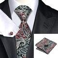 С-359 Классический Шеи Галстук Черный Серебристый Красный Мужская Tie карманные Квадратных Запонки 8.5 см Жаккардовые Шелковые Галстуки Для Мужчин Свадьба бизнес