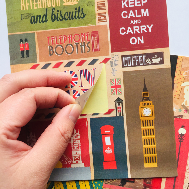 3 Sheets /Pack Stylish London Paris Paper Adhesive Stickers DIY Decorative Stickers Hand Account Stick Label