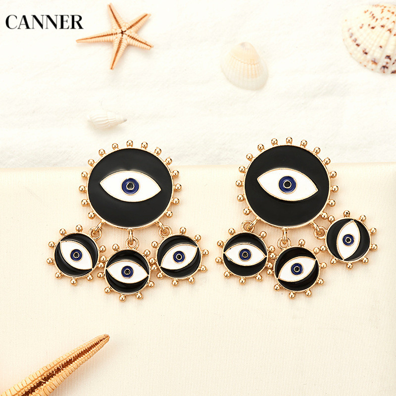 Canner Exaggeration Black Big Statement Earrings For Women Evil Eye Dangle Fashion Jewelry 2019