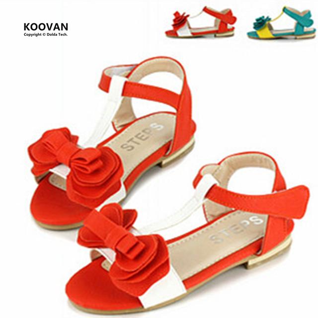 Koovan promoção ano novo 2017 crianças de verão das sandálias do bebê shoes meninas princesa macio sapato arco peep toes sandálias ky5590