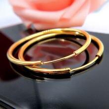 Большие круглые серьги кольца 5 см желтое золото Гладкий женский