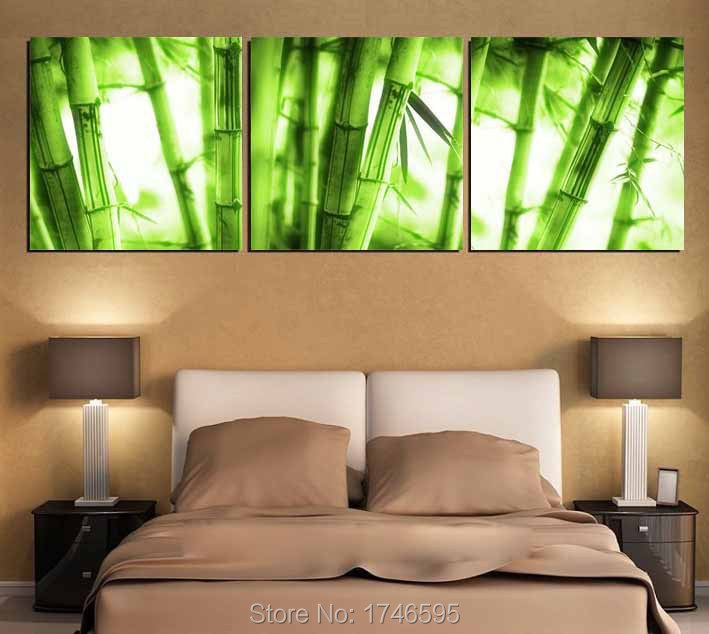 Bamboo Room Decor: Big 3pieces Modern Home Decor Wall Art Picture Printed