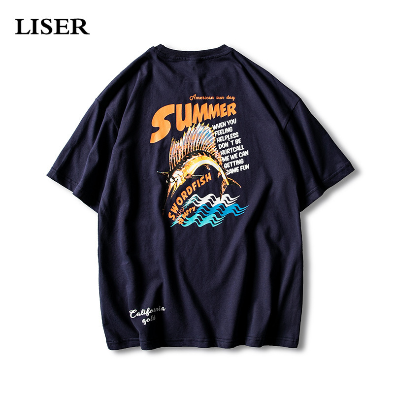 LISER T Shirt Men 2019 Summer O-Neck Men Tshirt Casual Print Cotton Tops Tees Streetwear Tshirts