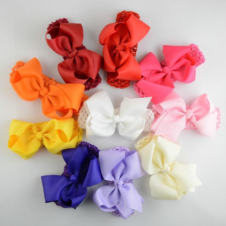 57pcs/lot Lace Elastic Supreme headband With Hair Bow Tie for girl Hair Alloy Rhinestones New girl Headwear FDA92