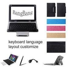 Bluetooth Wireless Keyboard Cover Case for ainol Novo 7 Flame 7 inch Tablet Spanish Russian Keyboard+Stylus Pen+OTG