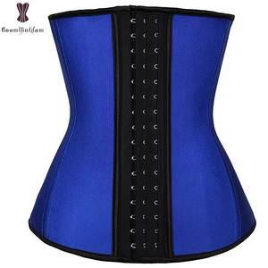 Image 5 - Latex Waist Trainer Steel Boned Underbust Waist Cincher Solid Underbust Corset Plus Size Women Daily Wear Bustier Rubber Corsets