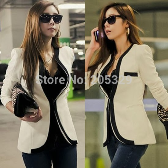 2015 New Fashion Women's Classic Long Sleeve OL Color Blocking Patchwork Faux Pocket Blazer Suits Outerwear Tops