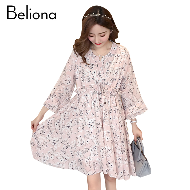 Floral Maternity Clothes Casual Pregnancy Dress Cotton Long Sleeve Maternity Clothing Of Pregnant Women 2018 Autumn Spring