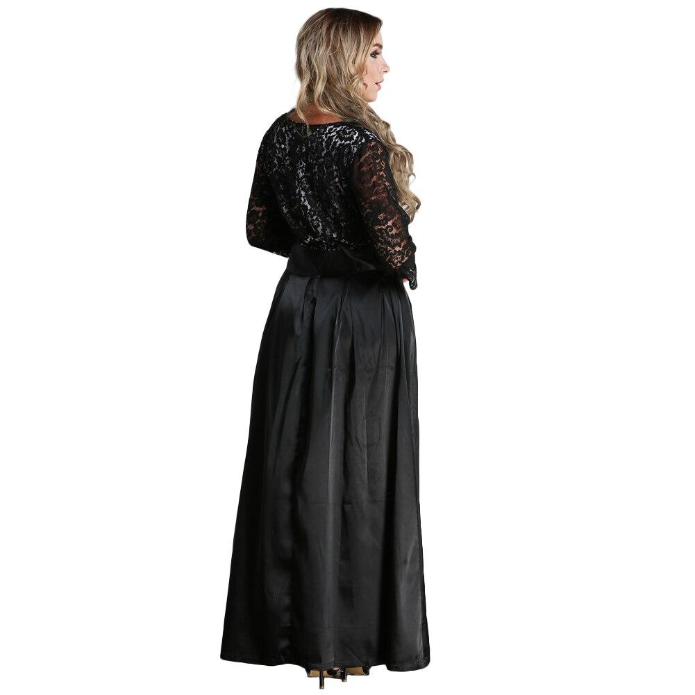 2019 automne grande taille femmes dentelle robe XXXL 5XL 6XL manches longues Maxi robe col en V Satin taille soirée robes robe noir