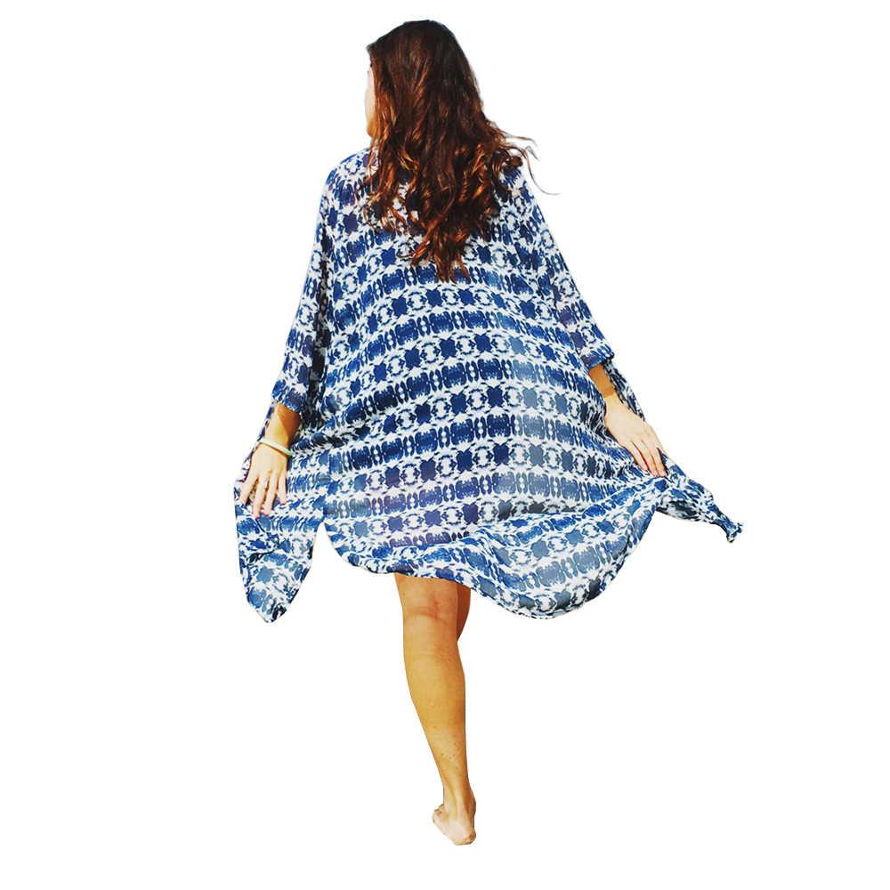 女性の夏のロングシフォン着物ボヘミアンカーディガン幾何学プリントショールブラウスビーチカバー Blusa Feminina トップス