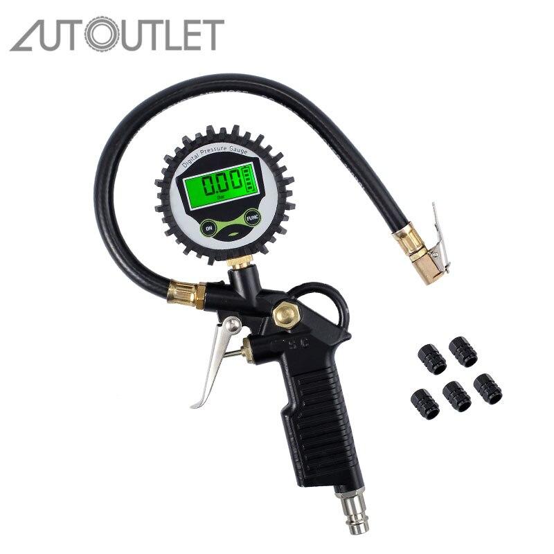 AUTOUTLET Digital Car Tire Air Pressure Inflator Gauge Tire Pressure Gauge 5 Black Valve Cap Vehicle Tester Inflation Monitoring