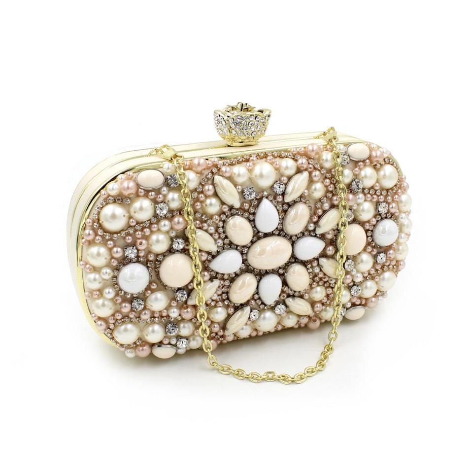 ФОТО Fashion Clutch Attractive Gift Rose Head Chain Bag Women Wedding Purse Diamonds Pearl Beading Mini