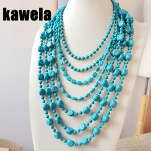 Free Shipping New Layers Plastic Turquoise Beads Statement Collar Necklace free shipping wholesale false collar 2 layers lace collar necktie tie necklace jewelry