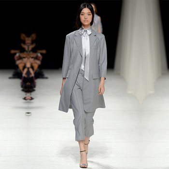 Light Gray Women Business Suits Casual Office Formal Work Wear Female Office Unifrom Long Jacket+Ankle-Length Pants Custom Made