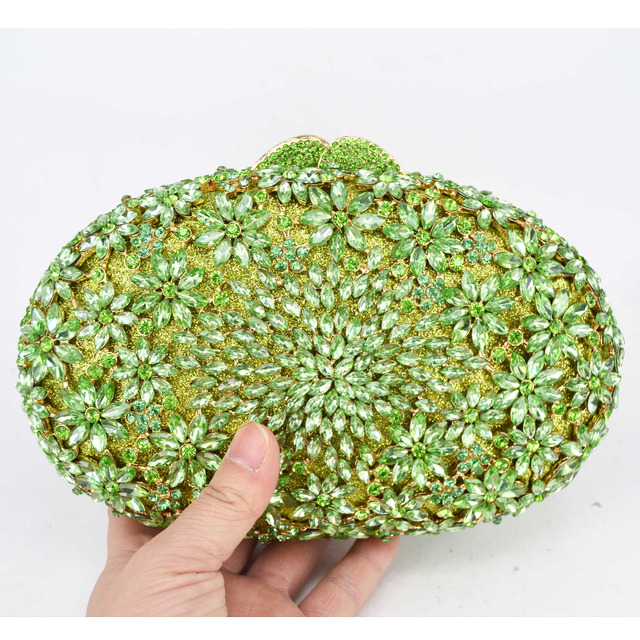 Oval Crystal Evening Clutch