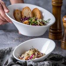 1pc Solid Creative Irregular Korean style Porcelain Salad Snacks Bowl Serving Dish Tableware Microwave Oven Dishwasher Safe