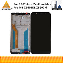 "5.99 ""Original Axisinternational Für ASUS ZenFone Max Pro M1 ZB601KL ZB602KL LCD Screen Display + Touch Panel Digitizer Rahmen"