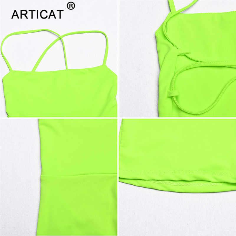 Articat неоновый зеленый бандажный сексуальный комбинезон с открытой спиной Женский Летний комбинезон со шнуровкой Облегающий комбинезон женский пляжный Повседневный клубный комбинезон