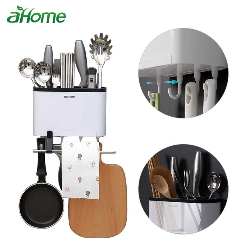 79c0c6603a Creative Wall Mounted Cutlery Storage Rack Drainer Chopsticks Knives  Organizer with Mobile Phone Holder Kitchen Storage Box