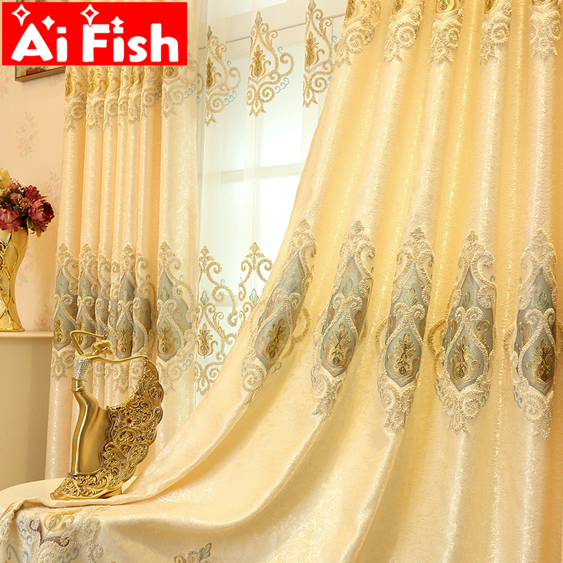 Ready Made Window Curtains For Living Room Luxury Embroidery Blinds Blackout Curtain Fabric And Tulle For Villa Bedroom Wp303-40