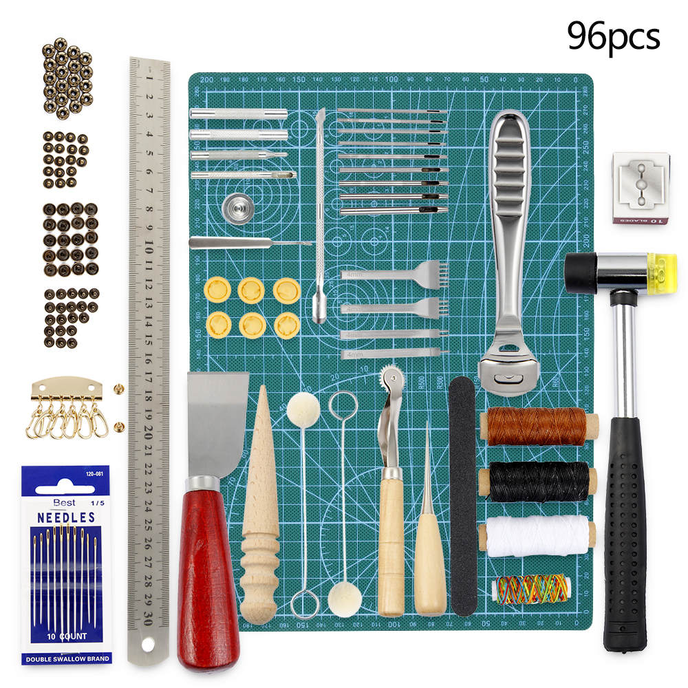 69pcs/set Leather Craft Tool Set DIY Carving Punching Sewing Work Kit Stitching Hand Burnish Needle Manual Accessories