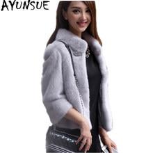 AYUNSUE Faux Fur Coat Donne Furry Giacca di Pelliccia di Inverno Donna  breve Bianco Rosso Cappotto 9ff45e33d0eb