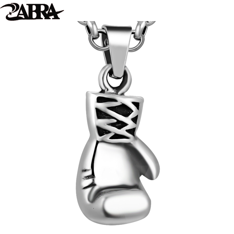 ZABRA Solid 925 Sterling Silver Cool Boxing Glove Necklace Pendant for Men Women Sport Fitness Jewelry